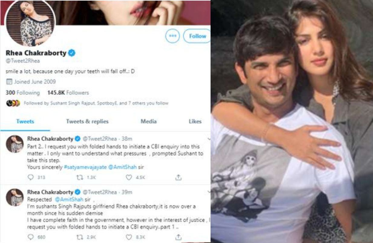 सुशांत सिंह राजपूत की गर्लफ्रेंड रिया चक्रवर्ती ने अमित शाह से CBI जांच की मांग की है
